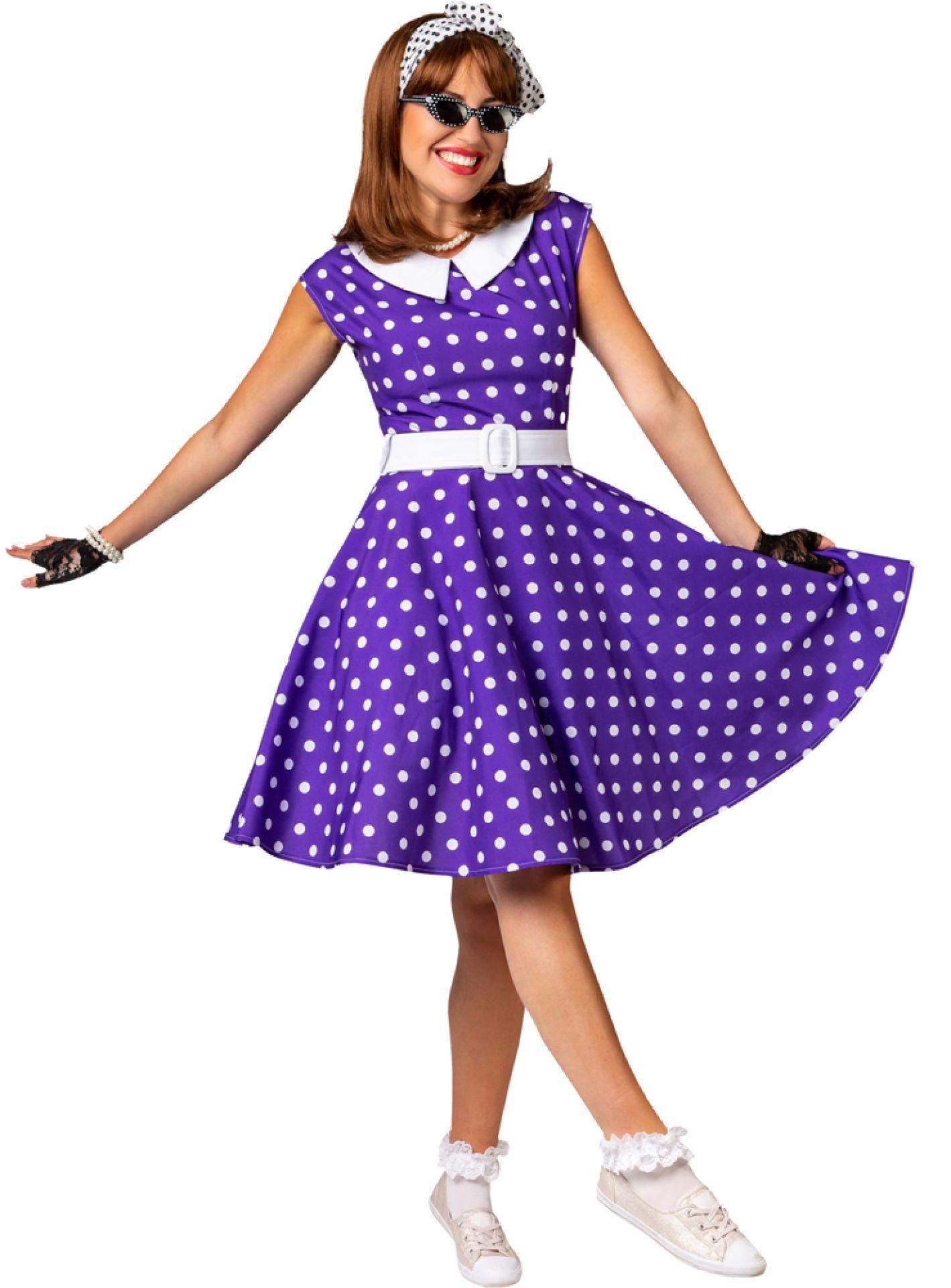 Kostüm Rock and Roll Girl Gr. 44, lila/weiß, (Kleid mit ...