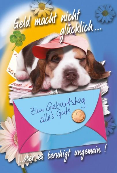 Karte Geburtstag Hund, Geldscheine, Blumen, Klee,