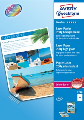 Premium Colour Laser Papier, A4, 200g, 100 Blatt